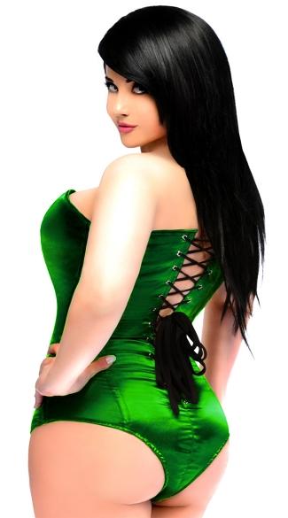 Green Satin Corset Bodysuit - Green
