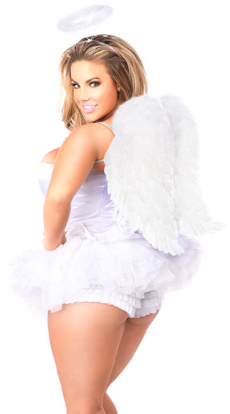 Flirty Angel Corset Costume - As Shown