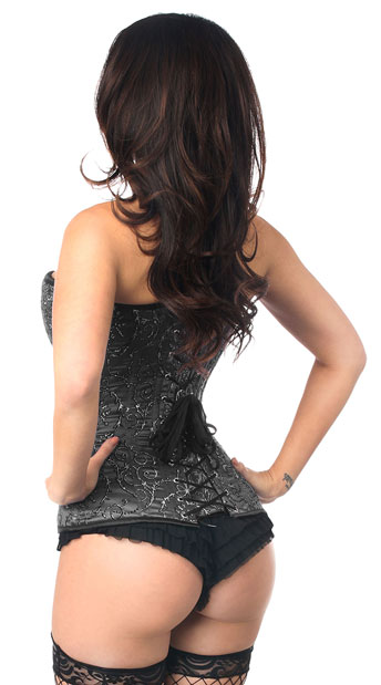 Black Embroidered Steel Boned Corset - Black