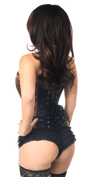 Brown Buckled Steel Boned Corset - Brown/Black