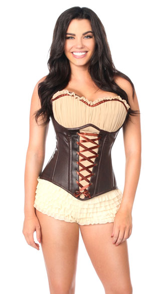 Faux Leather Steel Boned Ren Faire Corset, Brown Faux Leather Corset, Ren Faire Steel Boned Corset