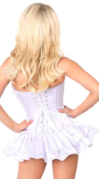 Plus Size White Satin Corset Dress - White