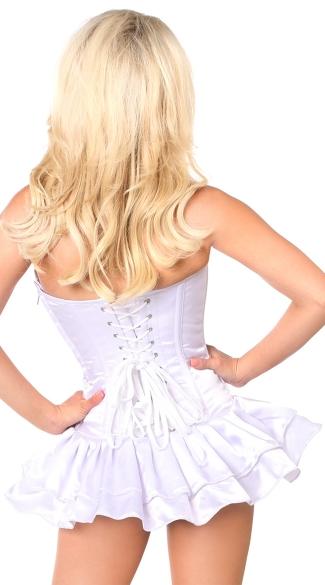 White Satin Corset Dress - White