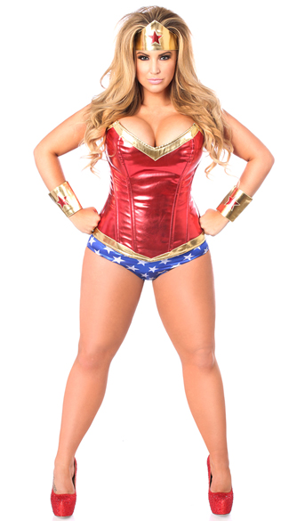 Plus Size Premium Superhero Corset Costume, Super Heroine Costume, Sexy Super Hero Costume
