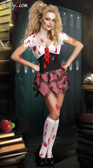 Horror High School Schoolghoul Costume Zombie Schoolgirl ...
