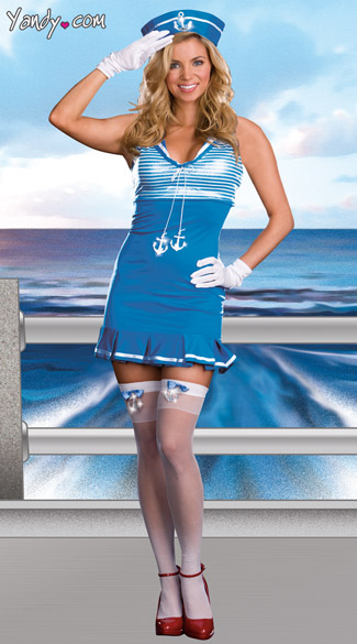 Nautical Cutie Costume, Sailor Ship Costume, Blue Sailor Girl