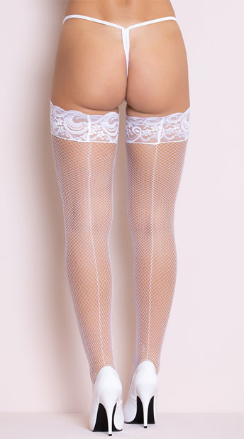 Fishnet Thigh High with Silicone Lace Top - White