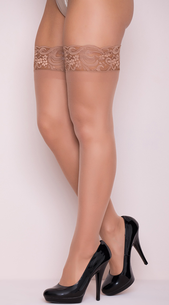 Sheer Thigh High with Stay up Silicone Lace Top - Nude