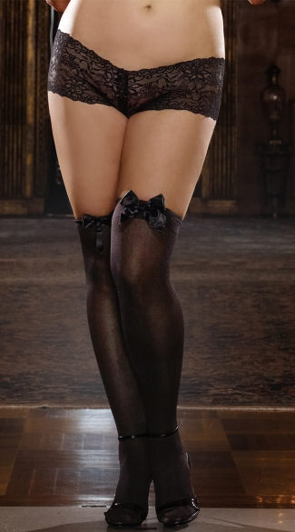 Plus Size Opaque Thigh High with Satin Bow - Black