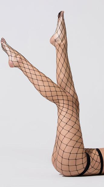 Diamond Net Pantyhose - Black
