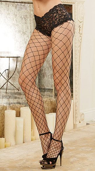 Diamond Net Pantyhose with Cheeky Boy Short Lace Top. - Black