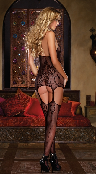 Sheer Halter Garter Dress with Stockings - Black