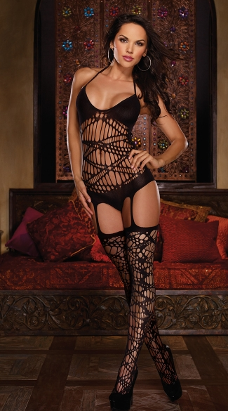 Slash Halter Romper with Attached Stockings, Shredded Halter Bodystocking, Ripped Bodystocking