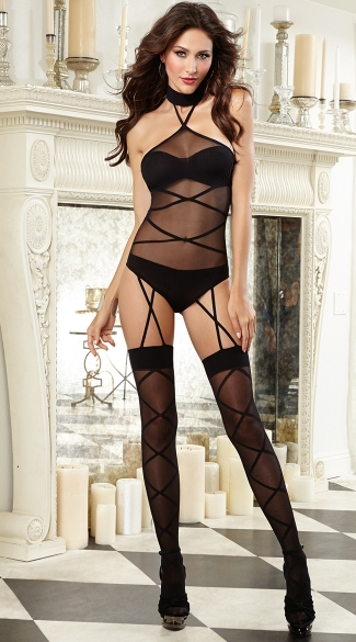 Strappy Halter Neck Teddy with Garters - Black