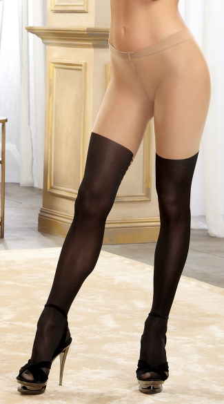 Nude Pantyhose with Opaque Legs and Faux Lace Up Back - Black