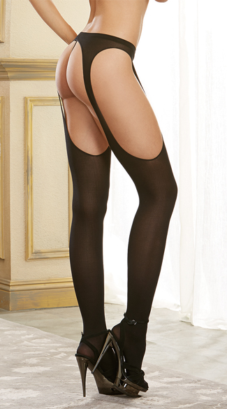 Sheer Black Suspender Pantyhose - Black