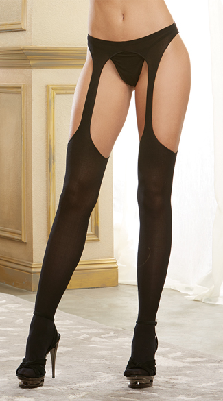 Sheer Black Suspender Pantyhose, Gartered Pantyhose, Sheer Suspender Pantyhose