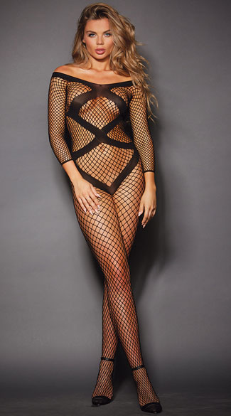 Off-the-Shoulder Fishnet Bodystocking, Black Fishnet Bodystocking, Striped Bodystocking