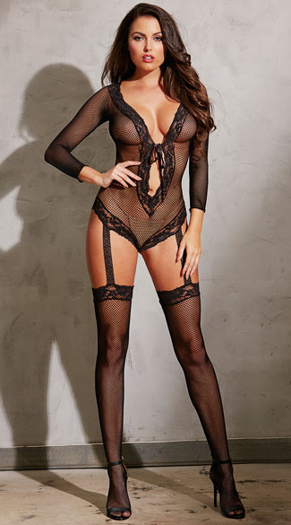 Fishnet and Lace Garter Teddy, Black Garter Teddy, Fishnet Teddy
