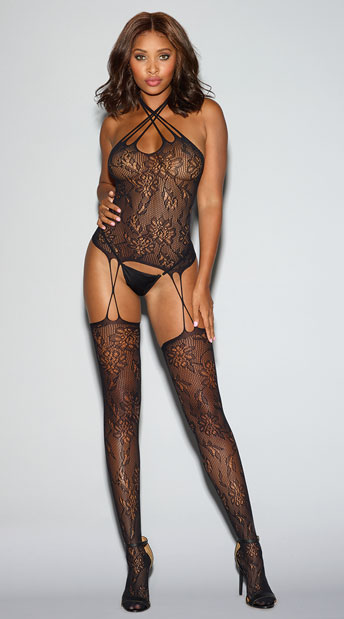 Strappy Black Lace Bustier Bodystocking - Black