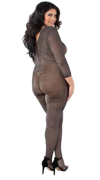Plus Size Stargazer Mesh Bodystocking - Black