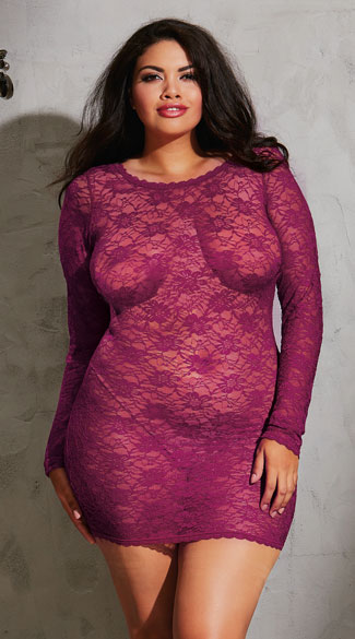 Plus Size Lacy Criss-Cross Tunic - Raspberry