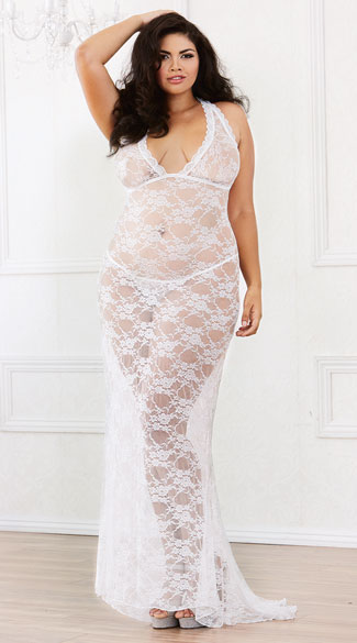 Plus Size Long Lace Gown And Panty Plus Size Long Lace Gown Plus
