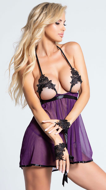 Sheer and Venice Lace Babydoll Set - Plum/Black