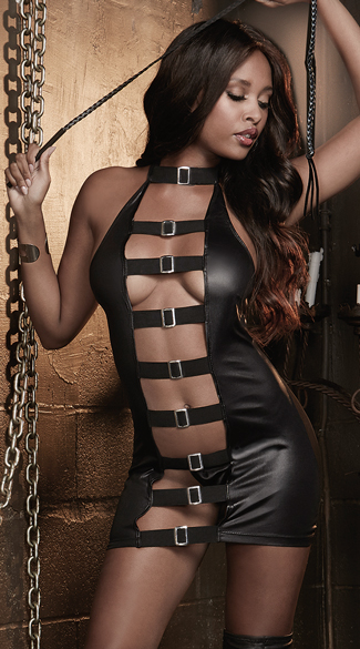 Faux Leather Buckled Chemise with Whip, Faux Leather Open Chemise, Faux Leather and Sheer Chemise