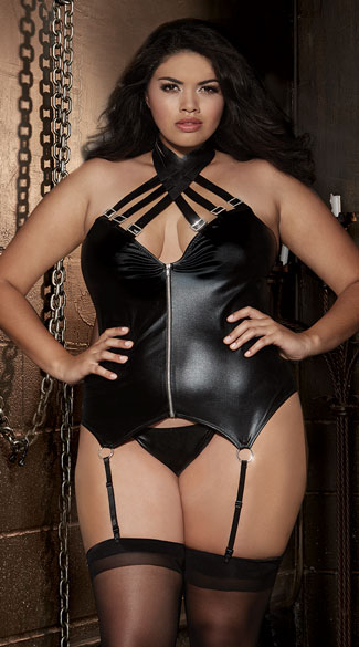 16d31c156e4 Plus Size Strappy Faux Leather Bustier Set - Black ...