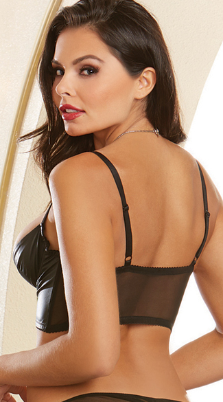 Faux Leather Shelf Bra - Black