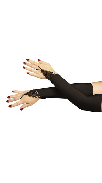 Midnight Madness Gloves, Black Lace Gloves, Black Elbow Length Gloves