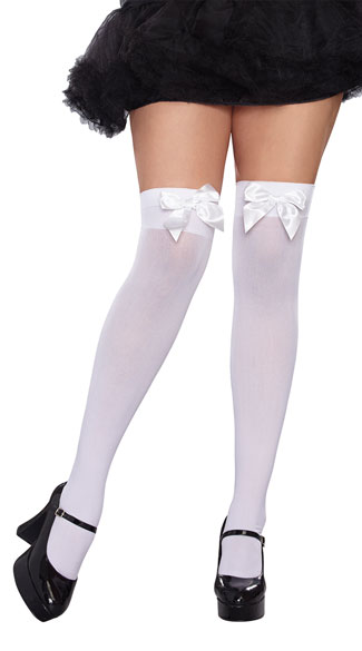Plus Size Bow Top Thigh Highs, Plus Size Opaque Bow Stockings, Plus Size Thigh High Stockings