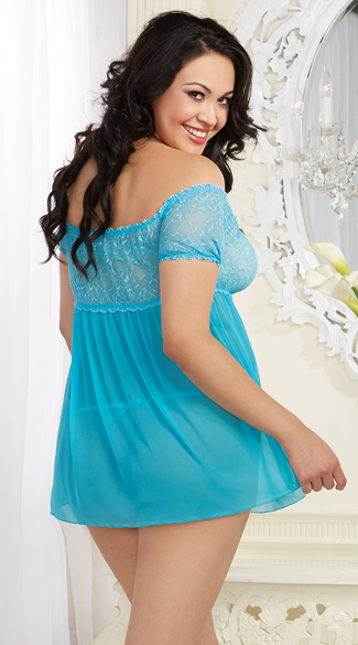 Plus Size Turquoise Mesh and Lace Babydoll Set - Turquoise