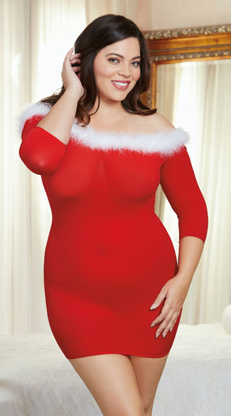 Plus Size Off-The-Shoulder Holiday Chemise, Plus Size Santa Chemise, Plus Size Red and White Chemise