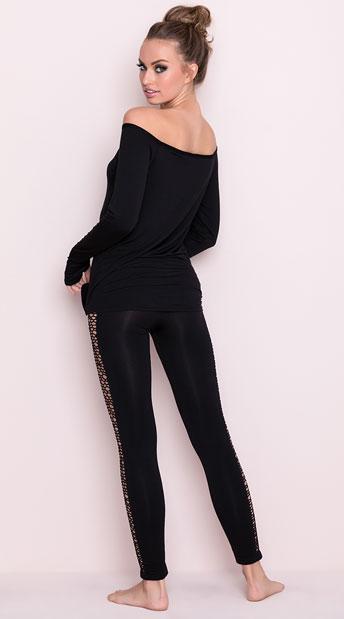 Black Netted Pajamas Off The Shoulder Pajamas Black Long