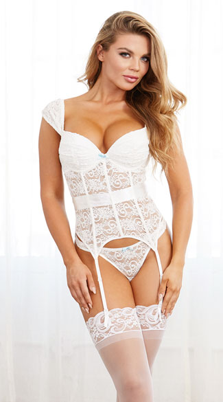 White and Blue Bridal Bustier Set - White