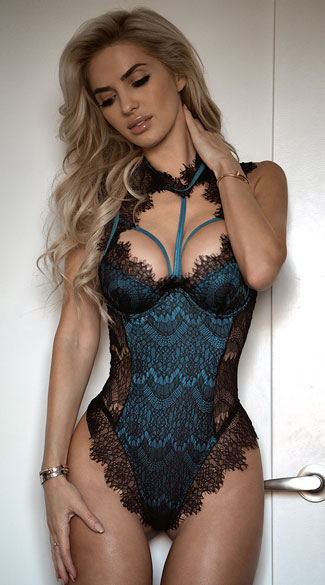 Stunning Lace Harness Teddy - Black/Teal