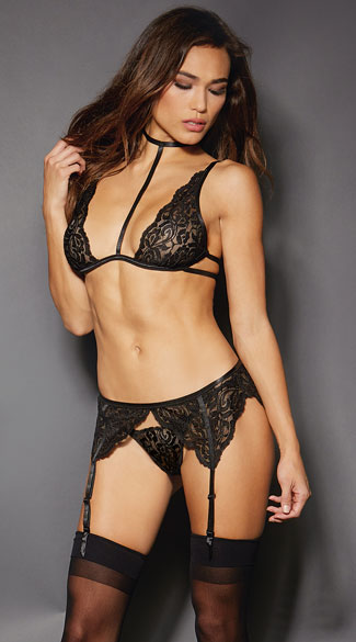 Soft Black Lace Bra Set, Black Lace Garter Set Lace Bra Set