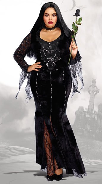 Plus Size Frightfully Beautiful Costume, Plus Size Gothic Seductress Costume - Yandy.com