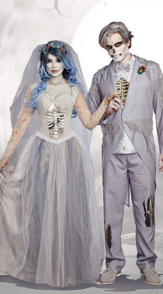 Til Death Couples Costume, Dying To Marry Costume, Deathly Bride Costume - Yandy.com, Men\'s Got Cold Feet? Costume, Zombie Groom Costume - Yandy.com