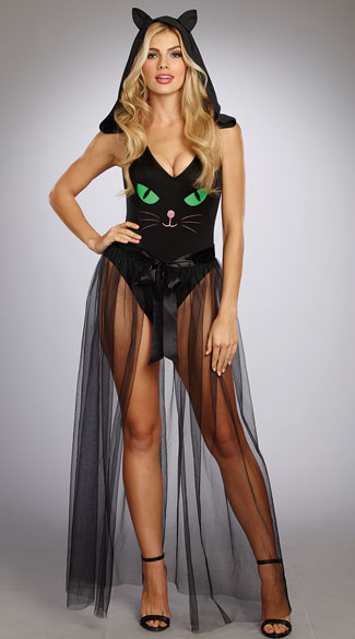 Pretty Black Kitty Costume, Pretty Kitty Bodysuit, black cat bodysuit - Yandy.com, Long Tulle Skirt, black tulle skirt - Yandy.com