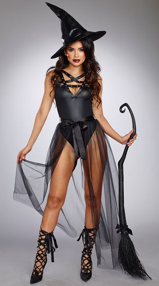 Evilicious Queen Costume, Evilicious Bodysuit, black strappy bodysuit - Yandy.com, Long Tulle Skirt, black tulle skirt - Yandy.com, Extra Large Scrunched Witch Hat, Large Witch Hat, Crooked Witch\'s Broom, Black Witch\'s Broom, Black Broom