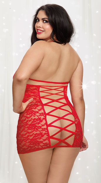 size love lace cage chemise, plus size red lace chemise - yandy