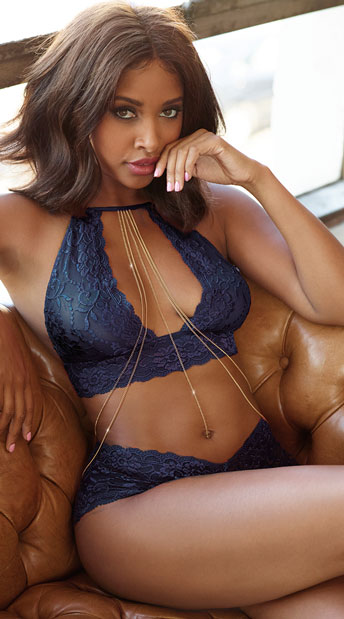Midnight Blue and Gold Bralette Set - Blue