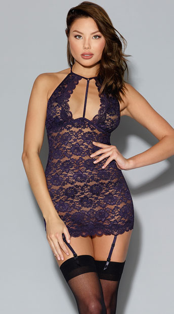 Eggplant Purple Gartered Chemise, Purple Lace Chemise with Garter Straps, purple chemise - Yandy.com