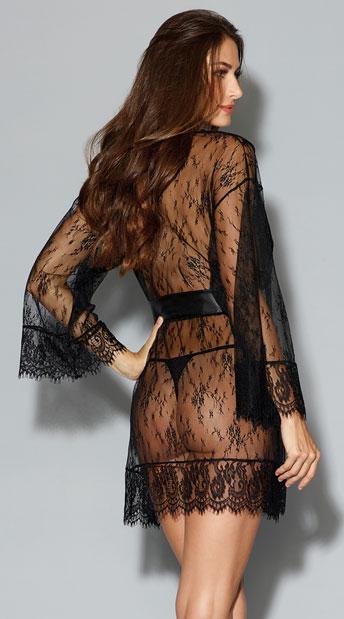 Romantic Lace Kimono Robe - Black