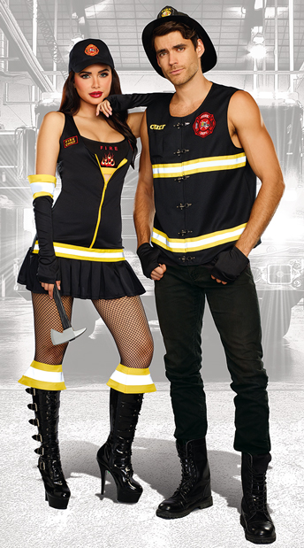 Sizzling Hot Firefighters Couples Costume - as shown