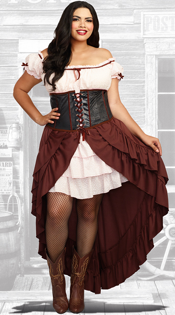 Plus Size Saloon Girl Costume - As Shown
