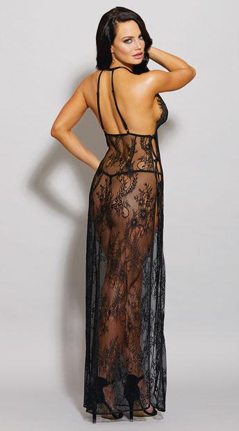 Eyelash Lace Toga Gown Set - Black